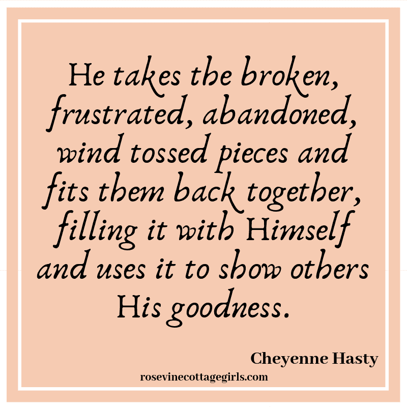 He takes the broken, frustrated, abandoned, wind tossed pieces and fits them back together, filling it with Himself and uses it to show others His goodness.