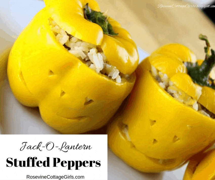 photo of a white plate with yellow bell peppers with Jack O Lantern faces cut out stuffed with rice and ground beef | rosevinecottagegirls.com Jack o lantern stuffed peppers, stuffed peppers, stuffed bell peppers by Rosevine Cottage Girls