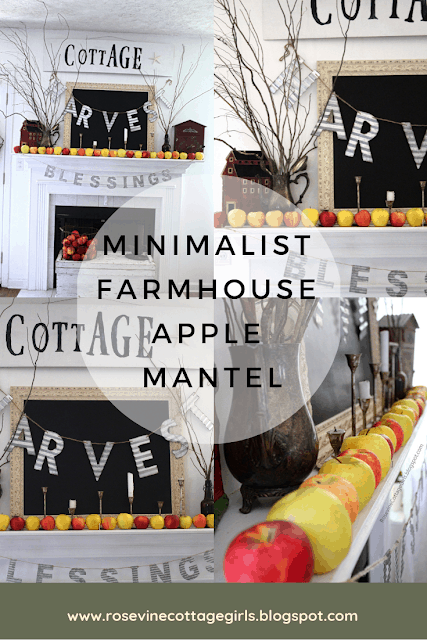 photo cpllage of a mantle decorated with a chalkboard, apples, a metal with the word blessed and another with harvest. text say minimalist farmhouse apple mantle. rosevinecottagegirls.com