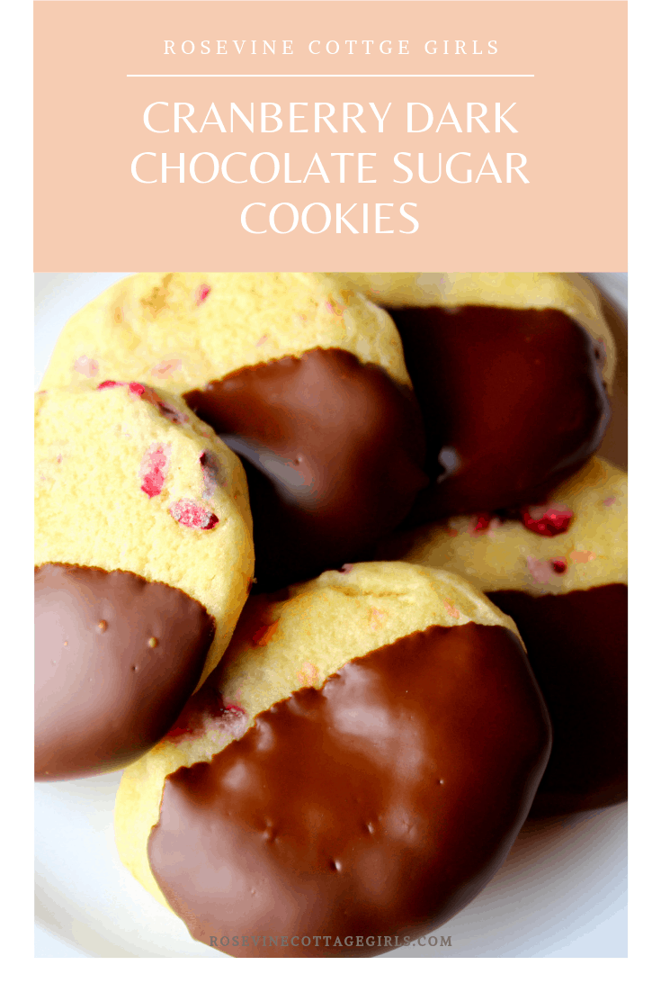 Cranberry Chocolate Cookies, Cranberry Sugar cookies, Cranberry Dark Chocolate Sugar Cookies, by Rosevine Cottage Girls