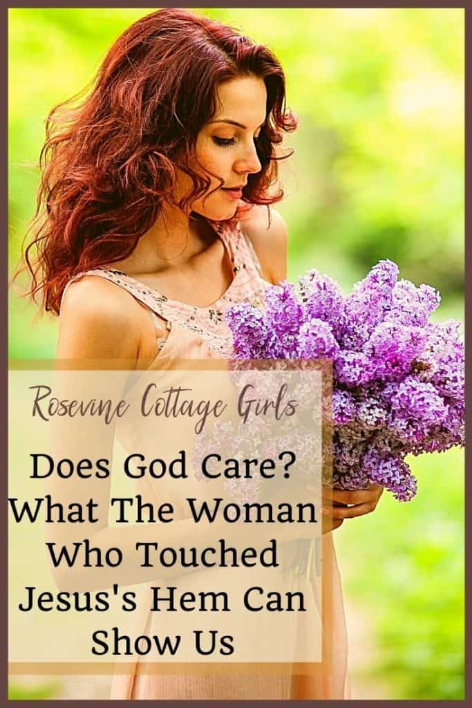 Woman holding lilacs.   Does God Care? A lesson from the woman who touched Jesus's hem