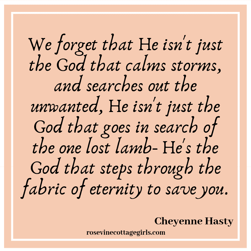 We forget that He isn't just the God that calms storms, and searches out the unwanted, He isn't just the God that goes in search of the one lost lamb- He's the God that steps through the fabric of eternityto save you.