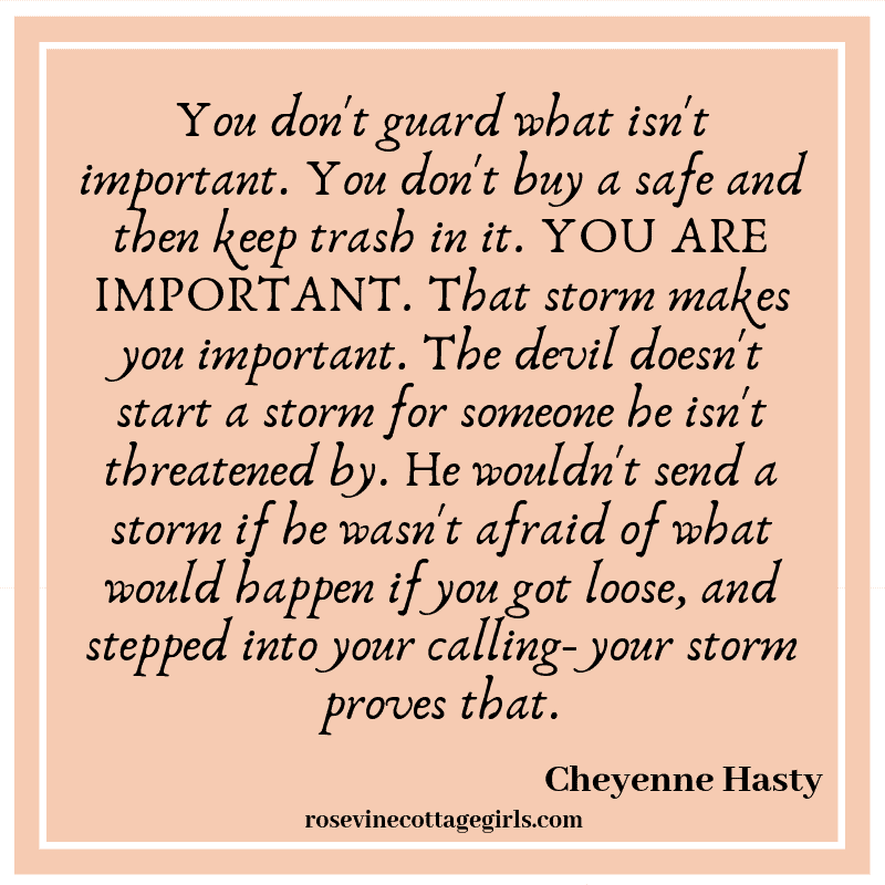 You don't guard what isn't important. You don't buy a safe and then keep trash in it. YOU ARE IMPORTANT. That storm makes you important. The devil doesn't start a storm for someone he isn't threatened by. He wouldn't send a storm if he wasn't afraid of what would happen if you got loose, and stepped into your calling- your storm proves that.
