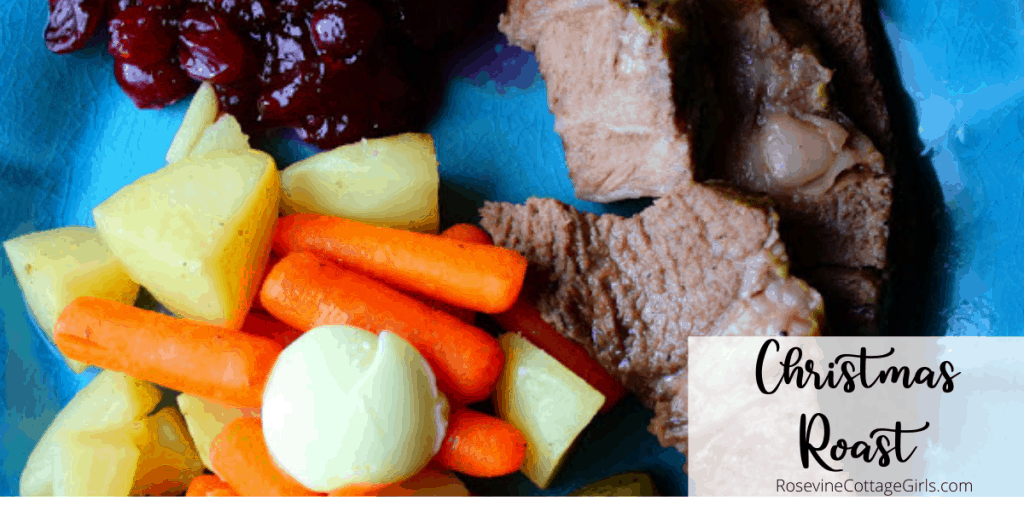 Christmas Roast   Photo of Roast with carrots, potatoes and cranberry sauce by rosevinecottagegirls.com