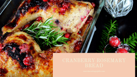 Rosemary Cranberry Chicken recipe | photo of chicken pieces cooked with rosemary sprigs and cranberries by RosevineCottageGirls.com