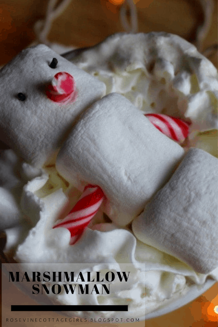 Marshmallow Snowmen, how to make marshmallow snowmen, Snowman hot cocoa, by rosevine cottage girls