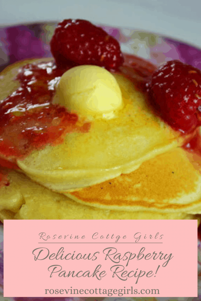 A floral plate with delicious homemade raspberry pancakes recipe everyone will love #rosevinecottagegirls
