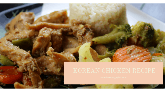 photo of a plate with rice, chicken, carrots and broccoli | Korean Chicken Recipe | RosevineCottageGirls.com chicken recipe