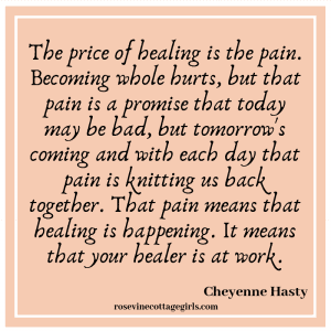 The price of healing is the pain. Becoming whole hurts, but that pain is a promise that today may be bad, but tomorrow's coming and with each day that pain is knitting us back together. That pain means that healing is happening. It means that your healer is at work.