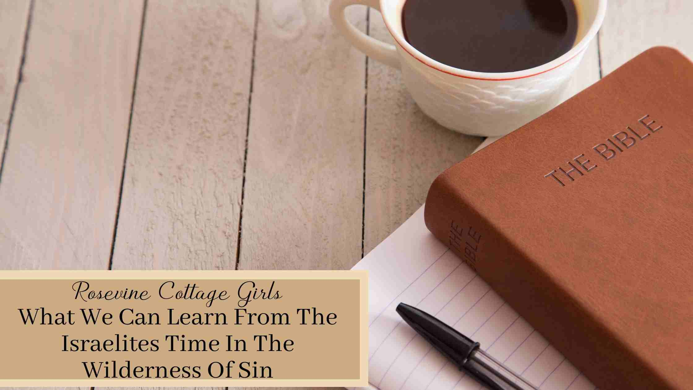 Notebook with a Bible stacked on top and a coffee mug | What We Can Learn From The Israelites Time In The Wilderness Of Sin