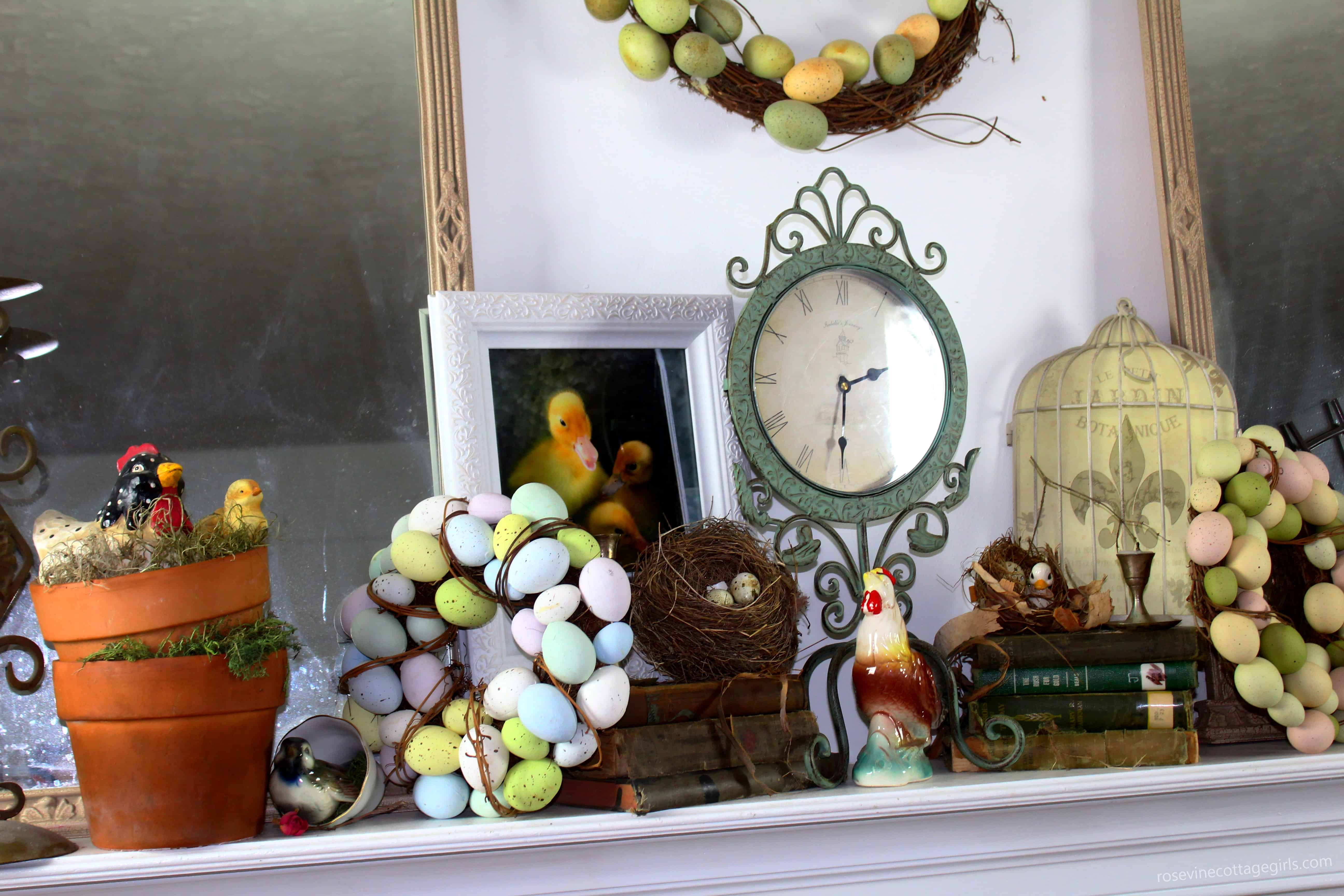 vintage spring farmhouse mantel decor