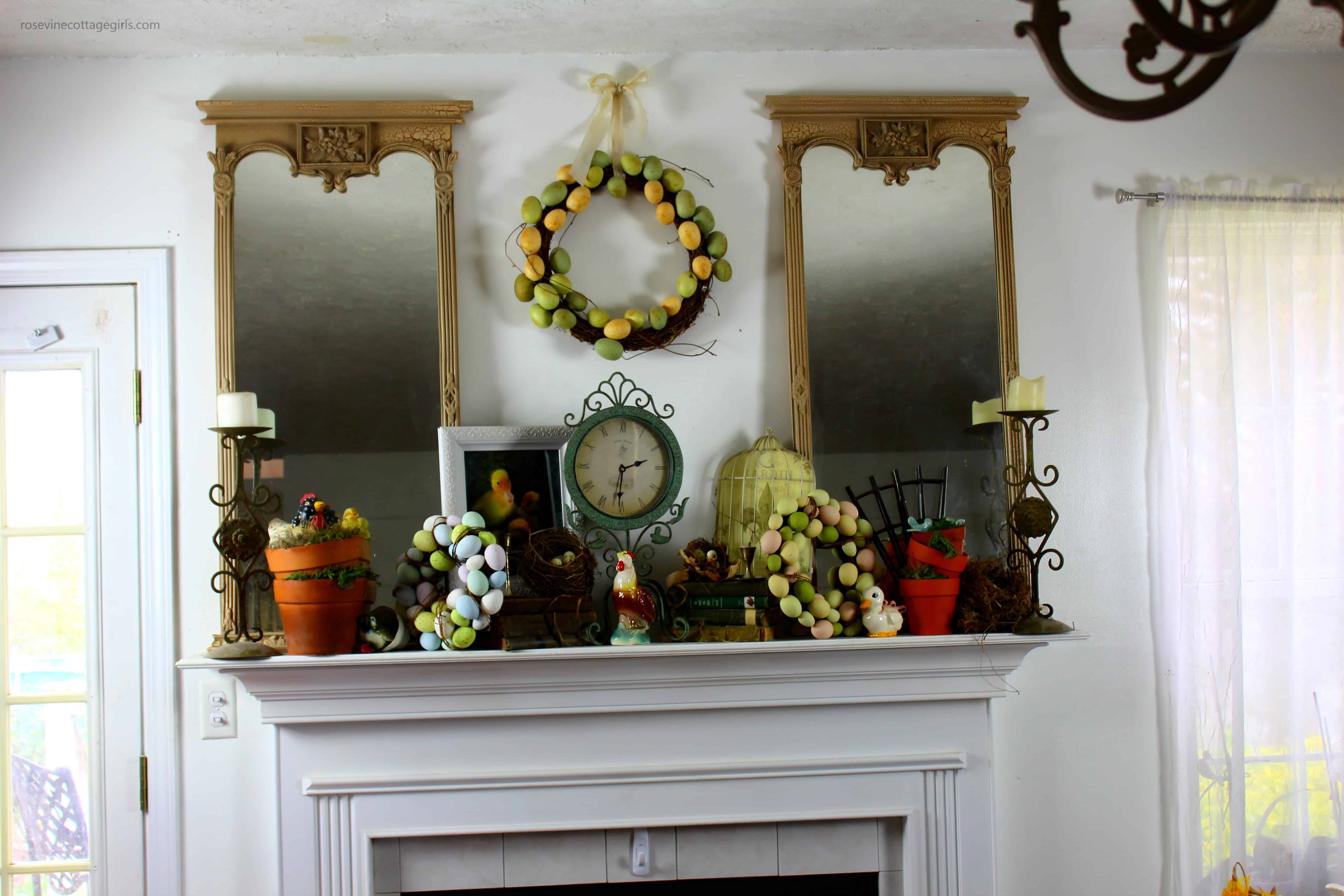 vintage spring mantel decor