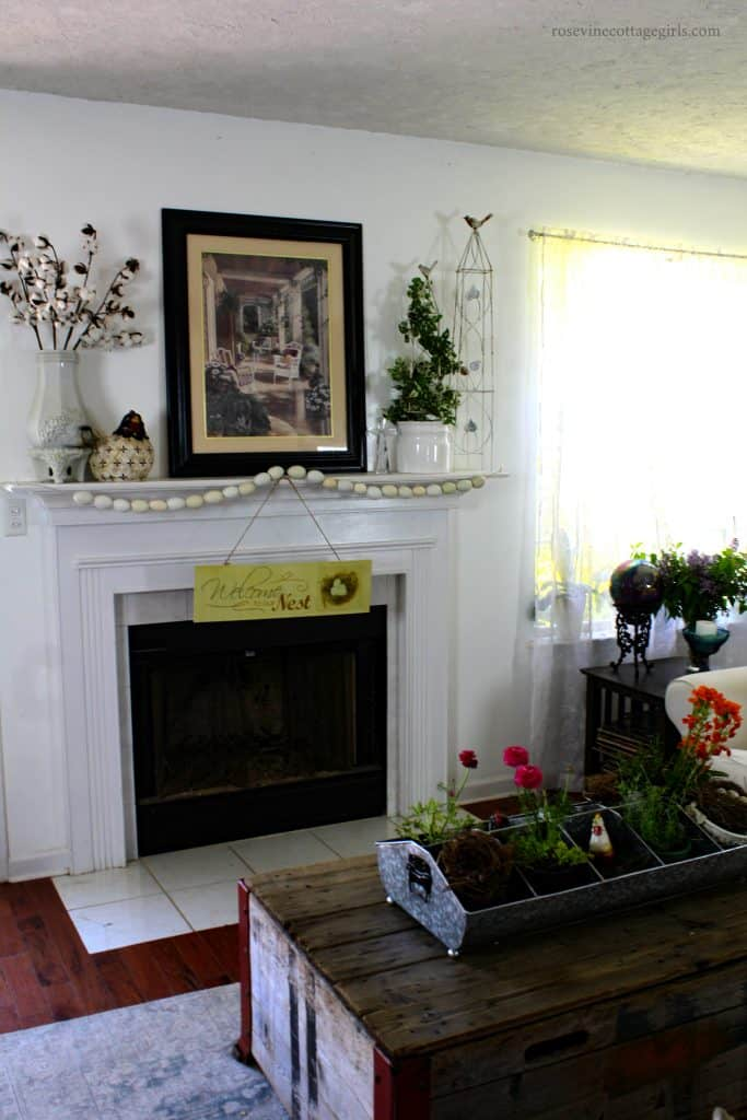 Decorating a farmhouse themed living room, spring living room decor, Spring Farmhouse decor, decorating tips, By Rosevine Cottage Girls