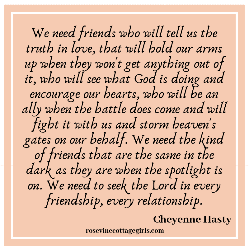 We need friends who will tell us the truth in love, that will hold our arms up when they won't get anything out of it, who will see what God is doing and encourage our hearts, who will be an ally when the battle does come and will fight it with us and storm heaven's gates on our behalf. We need the kind of friends that are the same in the dark as they are when the spotlight is on. We need to seek the Lord in every friendship, every relationship.