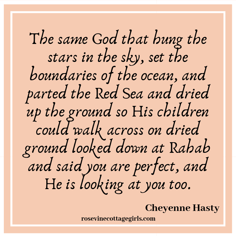The same God that hung the stars in the sky, set the boundaries of the ocean, and parted the Red Sea and dried up the ground so His children could walk across on dried ground looked down at Rahab and said you are perfect,