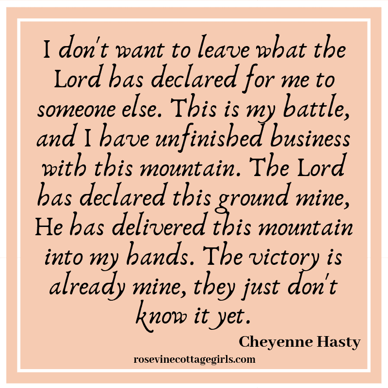 I don't want to leave what the Lord has declared for me to someone else.  This is my battle and I have unfinished business with this mountain The Lord has declared this ground mine. He has delivered this mountain into my hands. The victory is mine, they just don't know it yetby Rosevine Cottage GirlsThis is my battle, and I have unfinished business with this mountain. The Lord has declared this ground mine, He has delivered this mountain into my hands. The victory is already mine, they just don't know it yet.