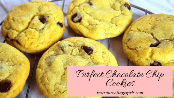 Photo of chocolate chip cookies cooling | perfect chocolate chip cookies | (c) rosevine cottage girls | rosevinecottagegirls.com