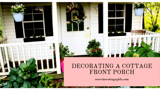 Dreamy Cottage Front Porch Decorating #HangingPots #FarmhouseStyle #PinkPlanters #windowboxes #coveredporch #whiteporch #blackshutters