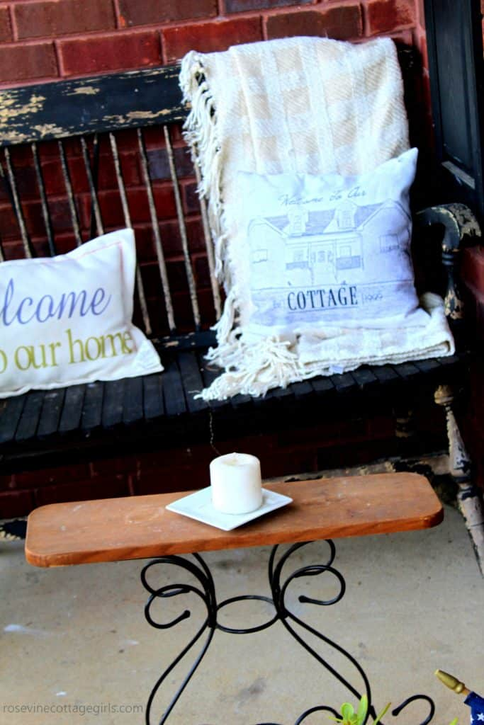 southern charm summer farmhouse porch by the Rosevine Cottage Girls #porchdecor #decoratingaporch