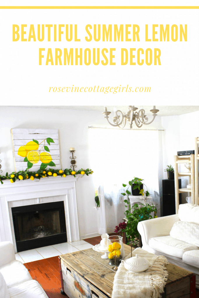 Gorgeous summer farmhouse style living room with lemon decor #RosevineCottageGirls #LemonDecor #DecoratingWithLemons #FarmhouseLivingRoom #FarmhouseStyle