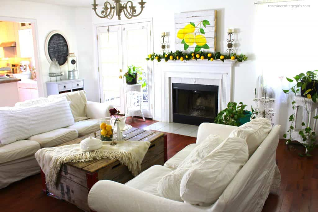 beautiful summer farmhouse style living room