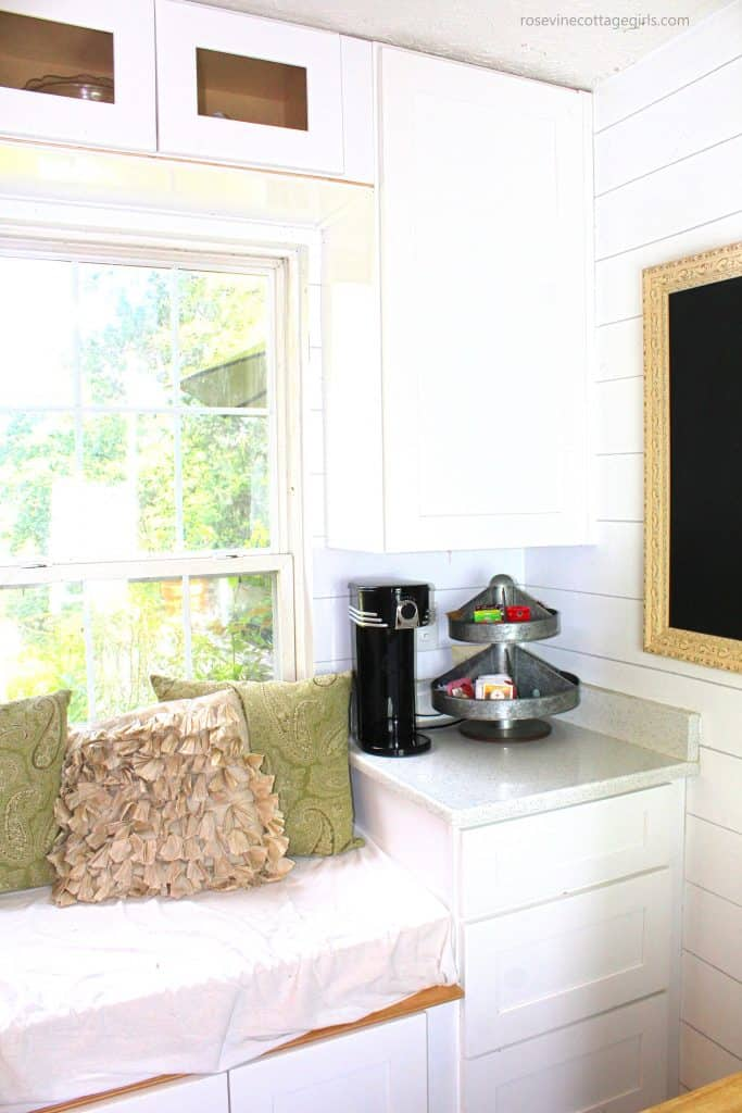 Gorgeous summer white farmhouse kitchen coffee station by the Rosevine Cottage Girls
