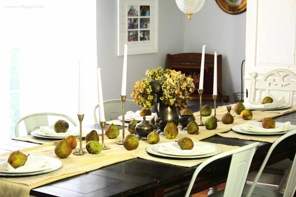 Simple fall pear tablescape with antique silver farmhouse decor Rosevine Cottage Girls