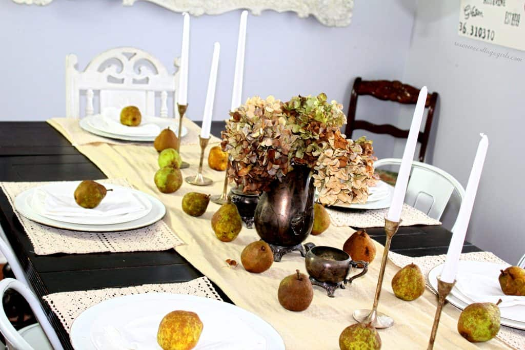 Simple fall pear tablescape with antique silver Rosevine Cottage Girls