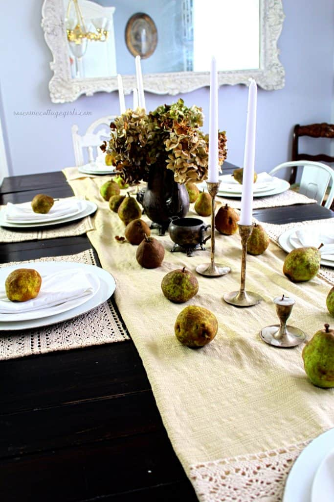 Simple fall pear tablescape with antique silver farmhouse cottage decor Rosevine Cottage Girls