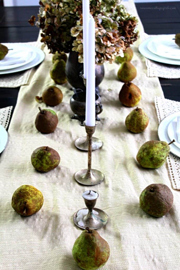 Simple fall pear and hydrangea tablescape with antique silver Rosevine Cottage Girls