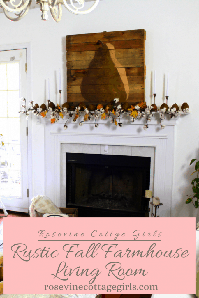 Gorgeous pear rustic fall decor for a neutral farmhouse living room #RosevineCottageGirls #FallDecor #FarmhouseStyle
