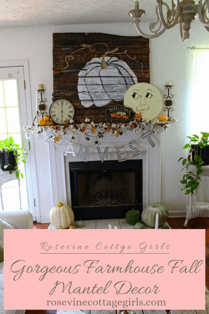 Gorgeous Farmhouse Style Fall Mantel Decor #RosevineCottageGirls