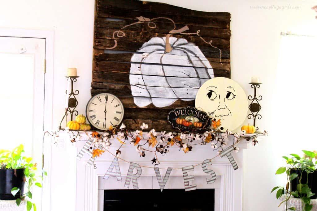 Gorgeous farmhouse style fall mantel decor