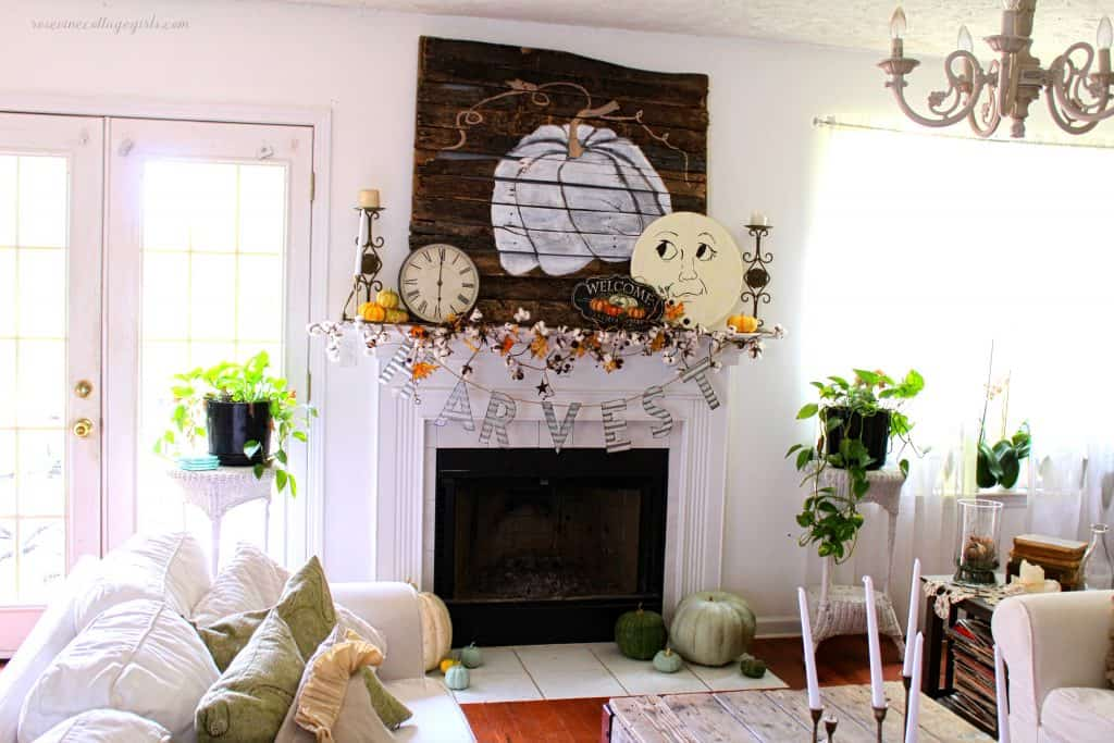 farmhouse style fall mantel decor