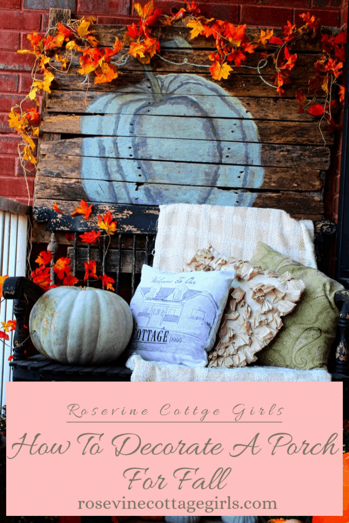 Photo of a porch decorated for fall, black bench with pillows, a wooden sign with pumpkin. Orange leaves on garland. (c) Rosevine Cottage Girls #RosevineCottageGirls Decor For Small Front Porch