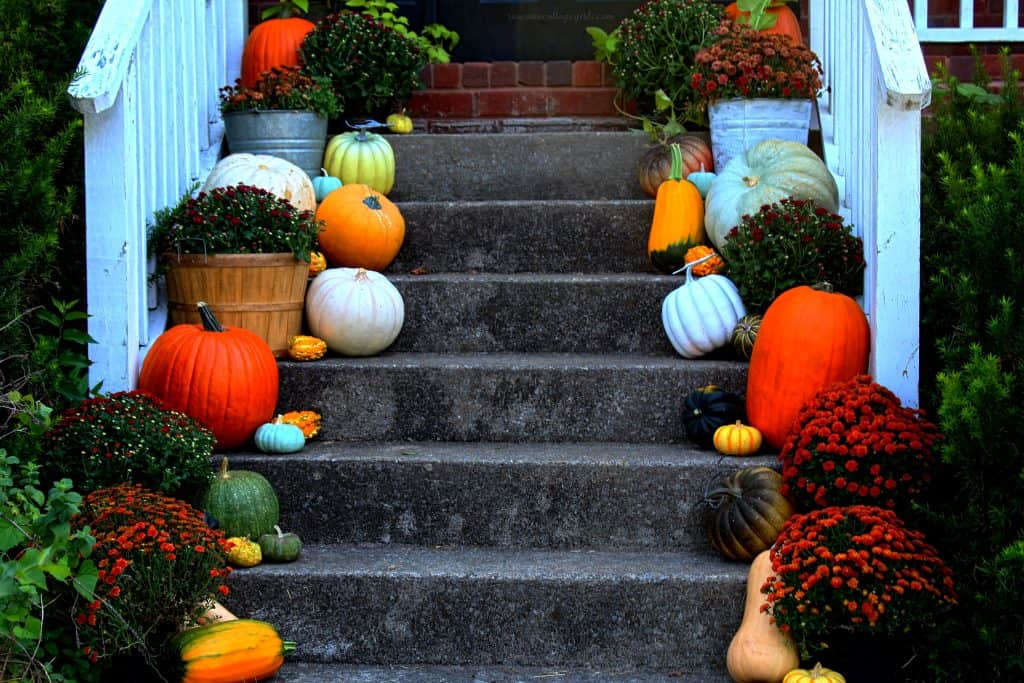 Beautiful fall front porch steps by the Rosevine Cottage Girls