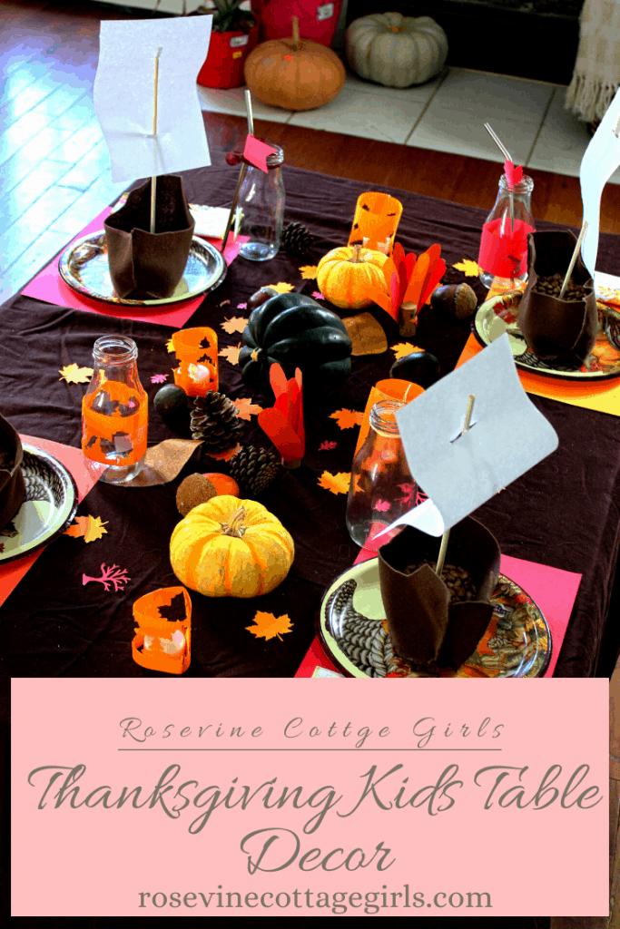Kids Thanksgiving Table Decor #RosevineCottageGirls