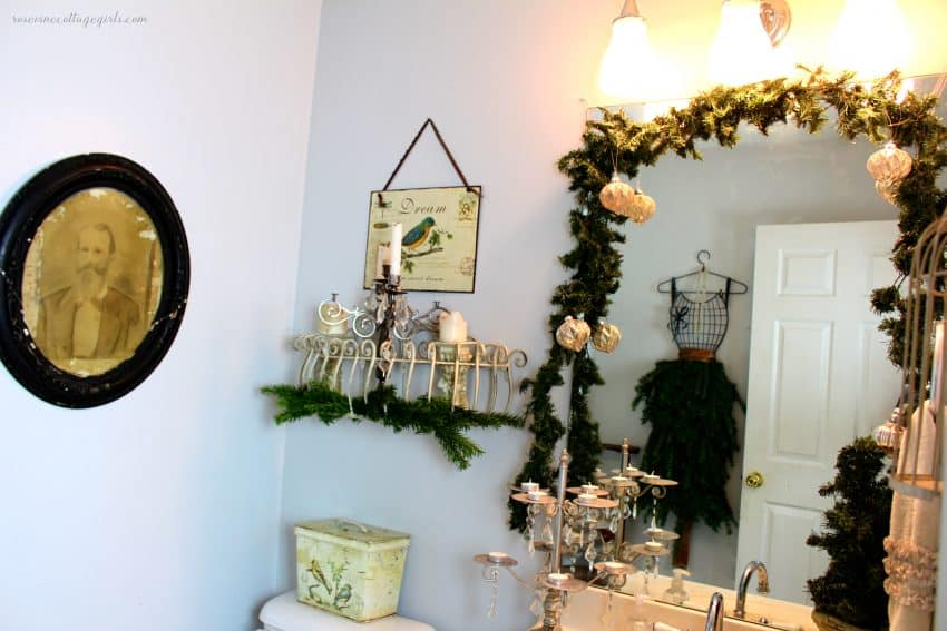 How to create an elegant country french Christmas powder room for the holidays #rosevinecottagegirls