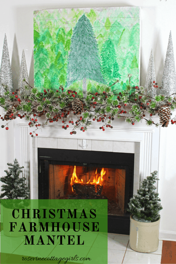 How to decorate a beautiful farmhouse Christmas fireplace #rosevinecottagegirls