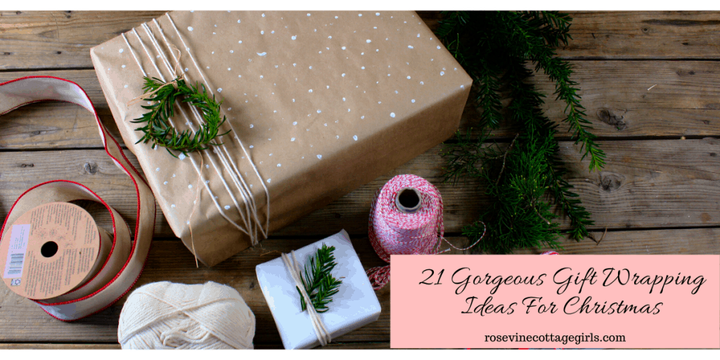 Gorgeous farmhouse style brown paper gift wrapping ideas for Christmas