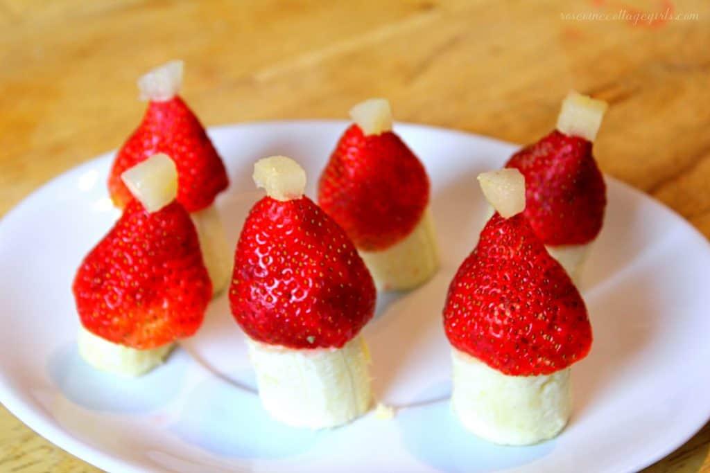 Delicious healthy Santa Hat Christmas Appetizers #RosevineCottageGirls