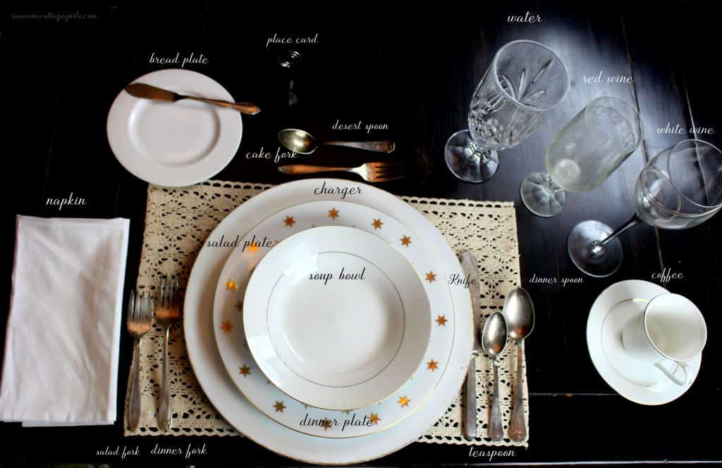 How to set a formal table, where to place wine glasses, silverware and more! #RosevineCottageGirls