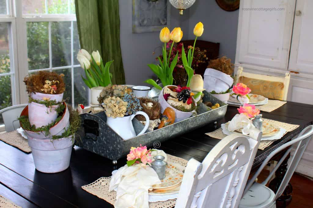 How to create this beautiful spring tablescape look + Tips to design beautiful spring table decor for your farmhouse #RosevineCottageGirls