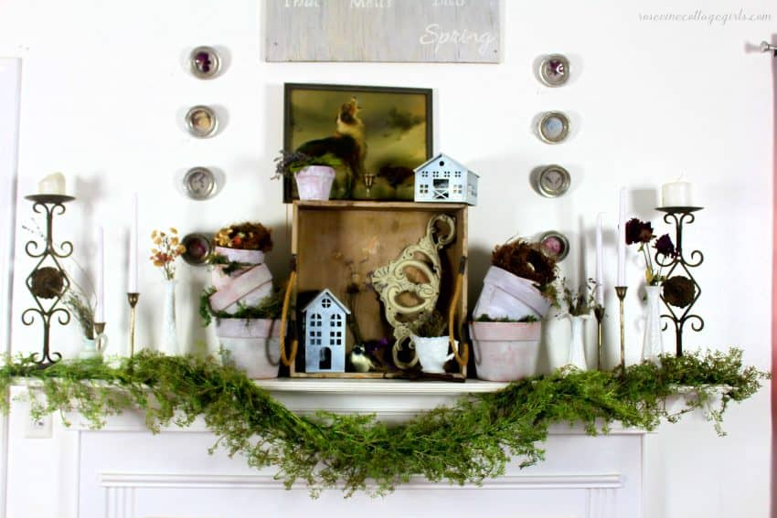 Beautiful greenhouse winter mantel decor for a beautiful antique farmhouse feel #rosevinecottagegirls