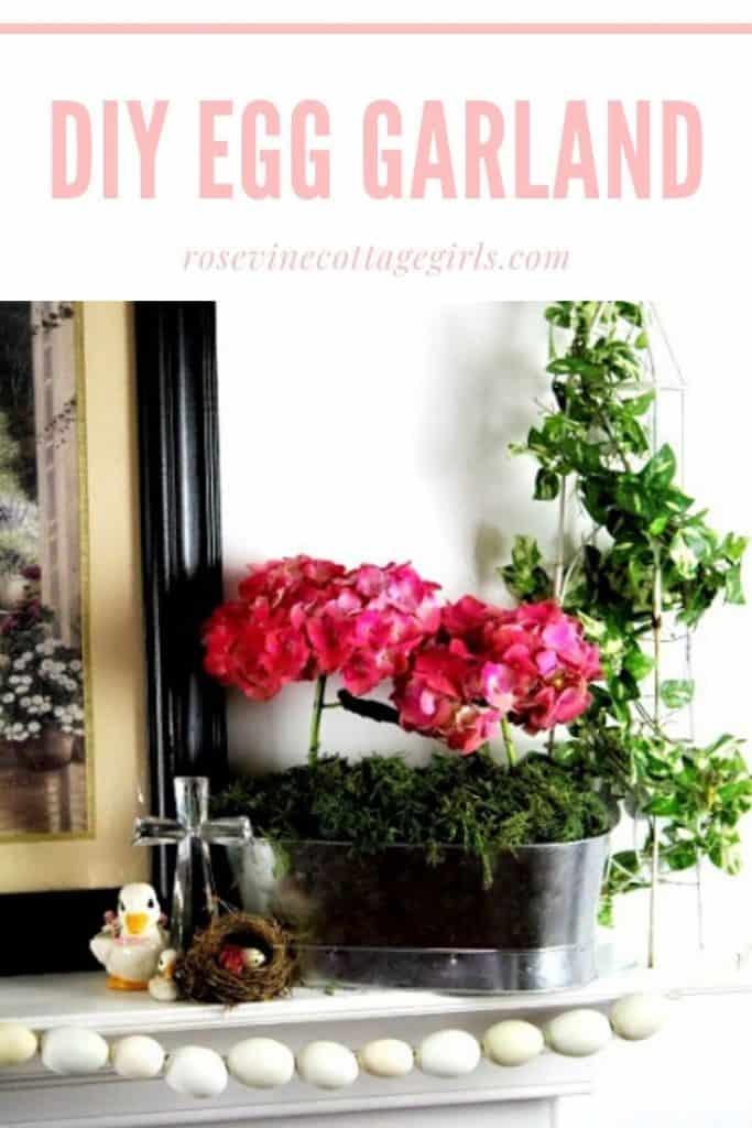 How to make a DIY egg garland for spring #rosevinecottagegirls #easterdecor