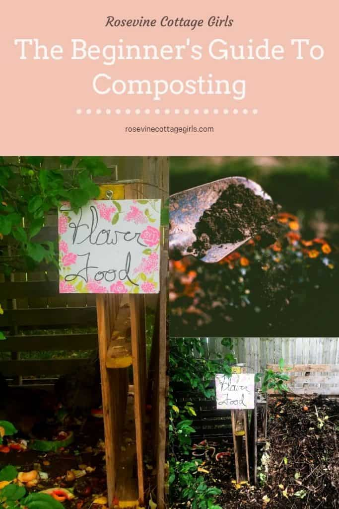 Pallet compost piles with flower food sign | how to compost