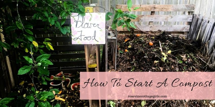 How To Start A Compost Pile | Pallet Compost Bins with Flower Food Sign