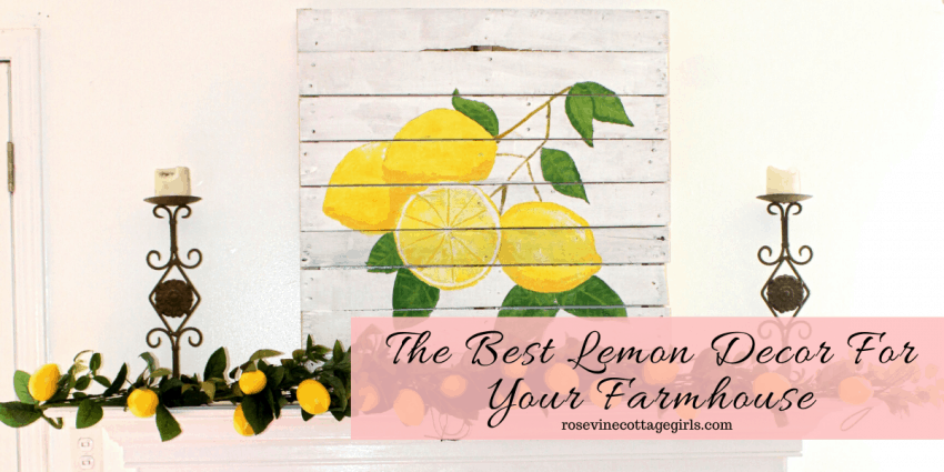 The Best Lemon Decor | Lemons on a pallet canvas and lemon garland