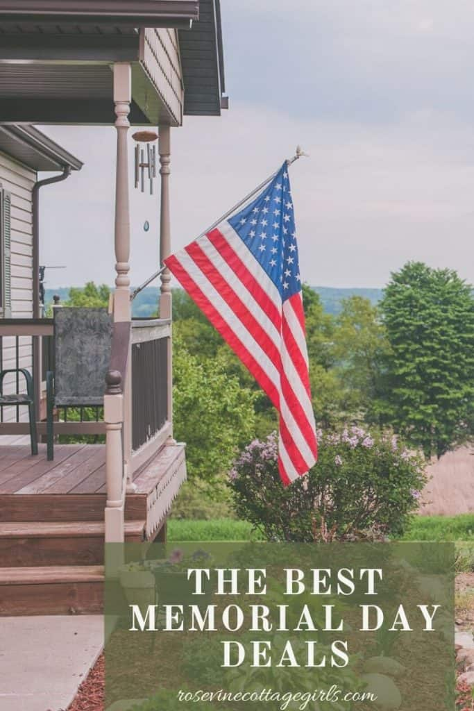 American flagging hanging from porch