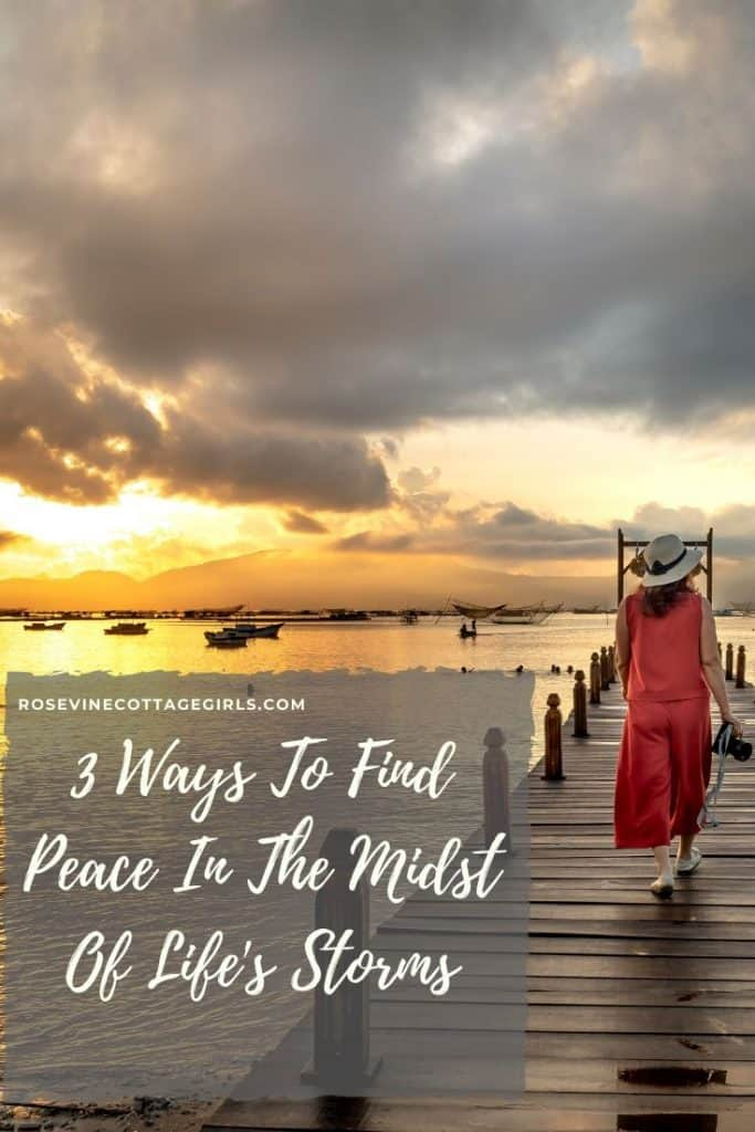 Woman walking on a dock | 3 Ways to find peace in the midst of life's storms #rosevinecottagegirls